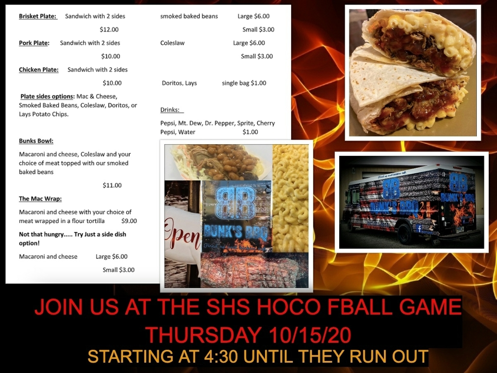 bunks BBQ at fb game Thursday 4:30