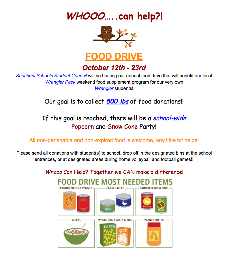 Wrangler Pack Food Drive October 12-23, 2020.