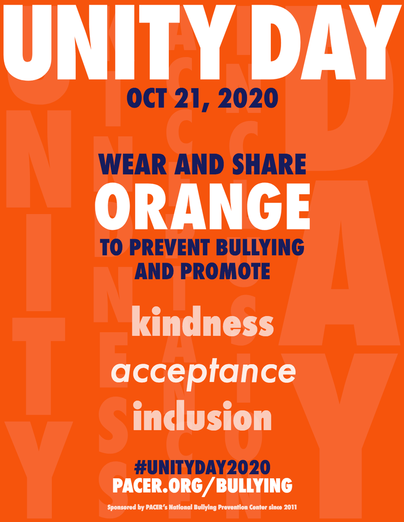 UNITY Day TOMORROW. Wear orange to prevent bullying and promote kindness, acceptance, and inclusion.