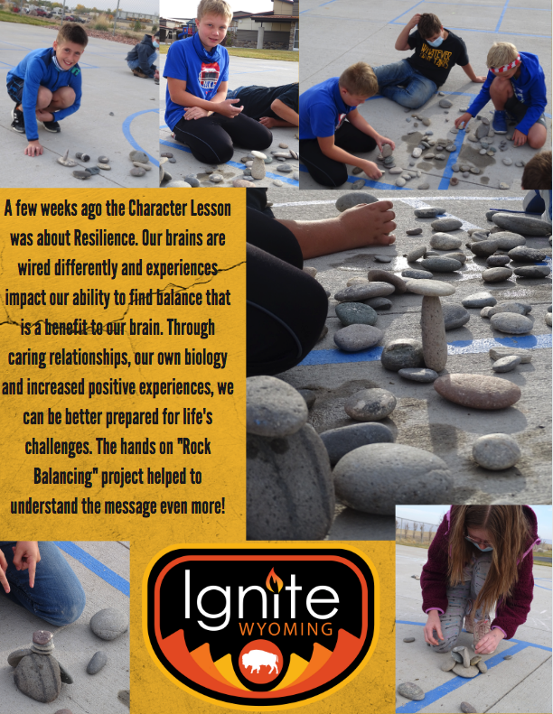 "A few weeks ago the Character Lesson was about Resilience. Our brains are wired differently and experiences impact our ability to find balance that is a benefit to our brain. Through caring relationships, our own biology and increased positive experiences, we can be better prepared for life's challenges. The hands on ""Rock Balancing"" project helped to understand the message even more!"