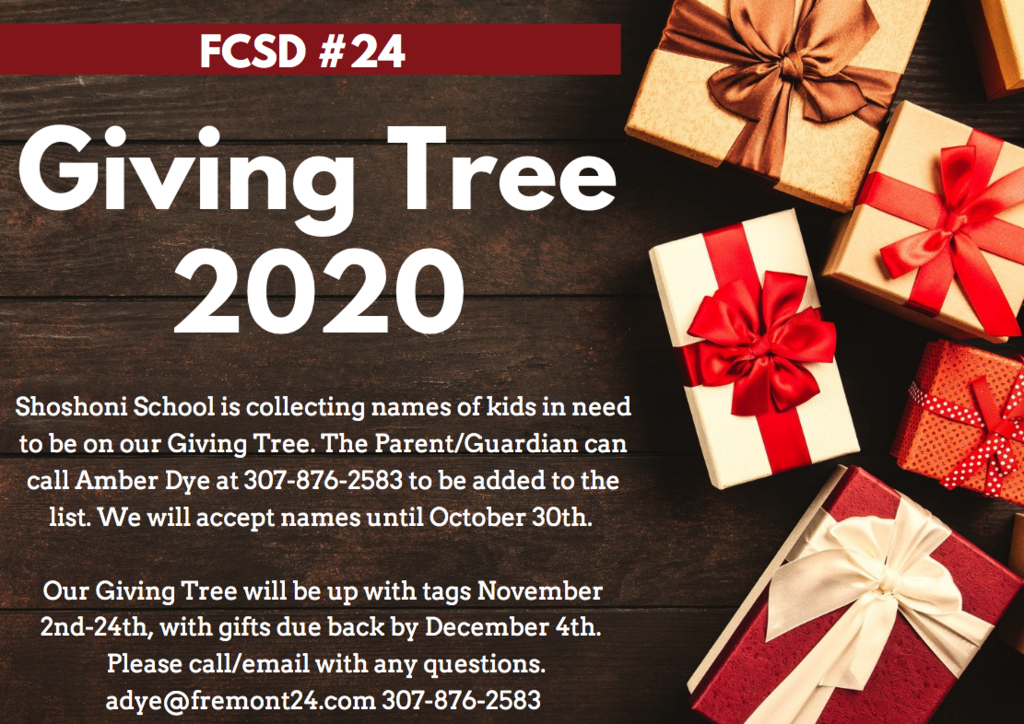 Giving Tree 2020 Contact Amber Dye for more information 307-876-2583