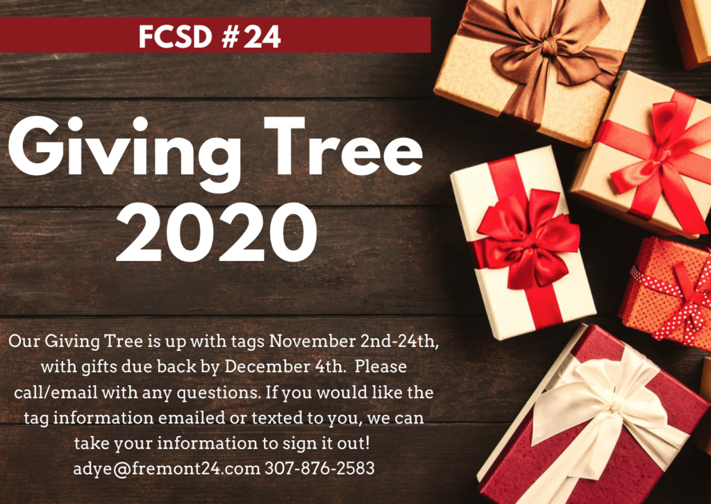 Giving Tree 2020 Tags available. Contact Amber Dye 307-876-2583