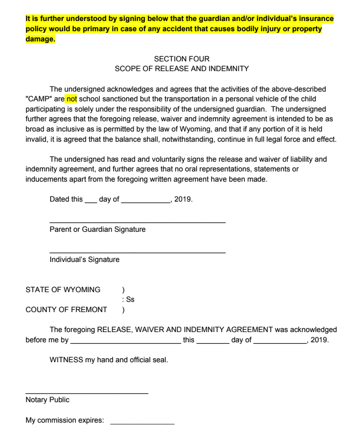 Camp Release Form Page 2