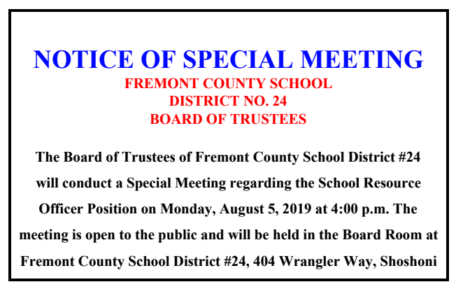 SPECIAL BOARD MEETING-SRO 8/5/19 4PM