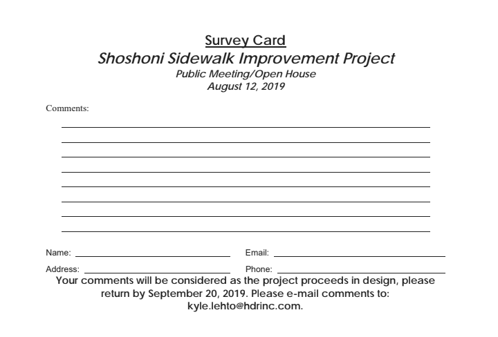 Survey Card for Sidewalk Improvement Project