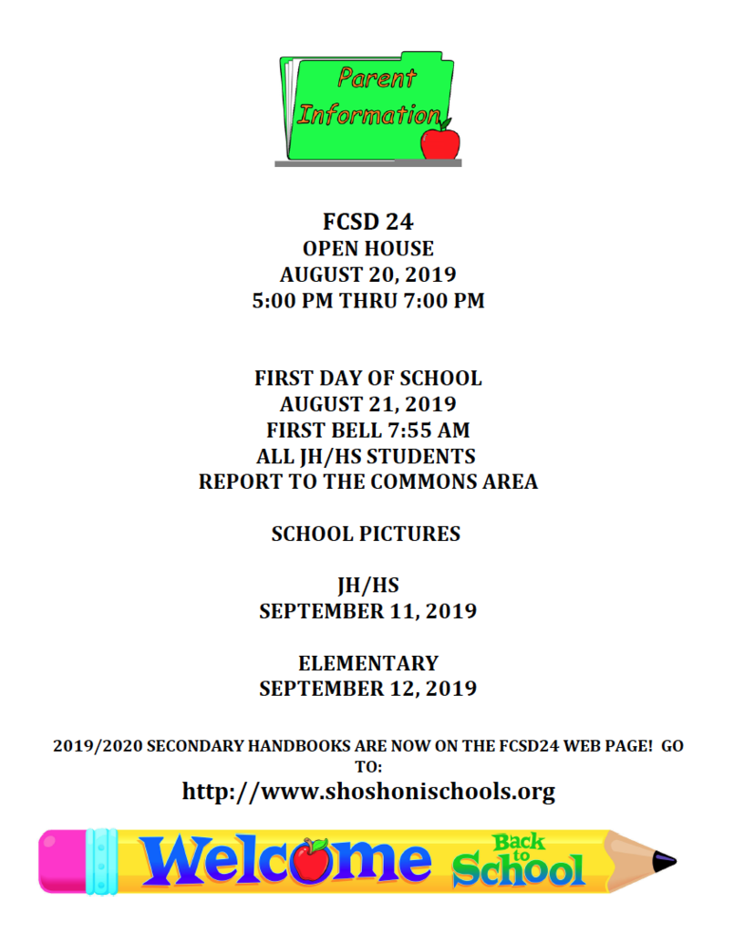 Open House 8/20 1st Day of school 8/21 7:55am School Pictures JH/HS 9/11 Elementary 9/12