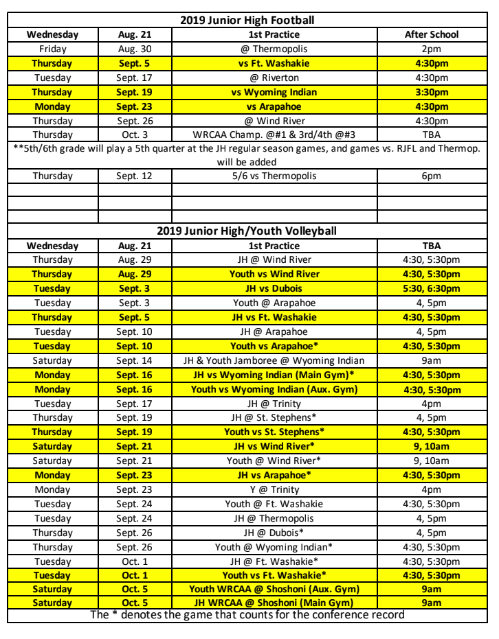 JH/Youth VB & FB Schedule