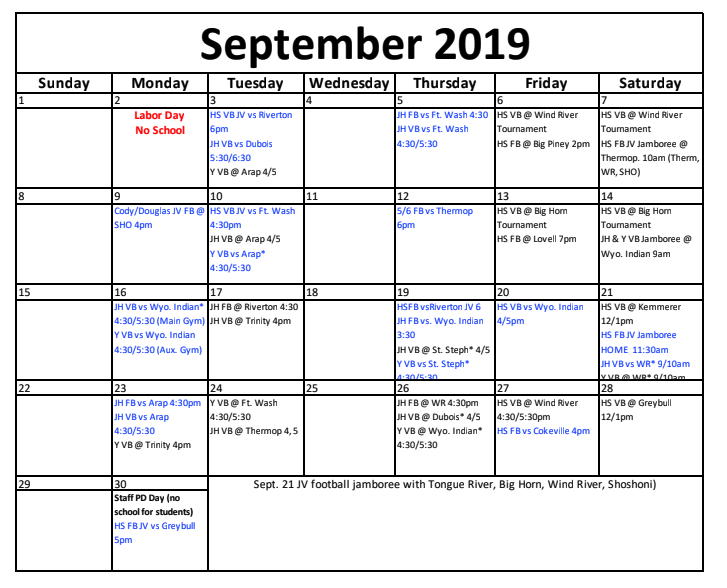 September sports schedule