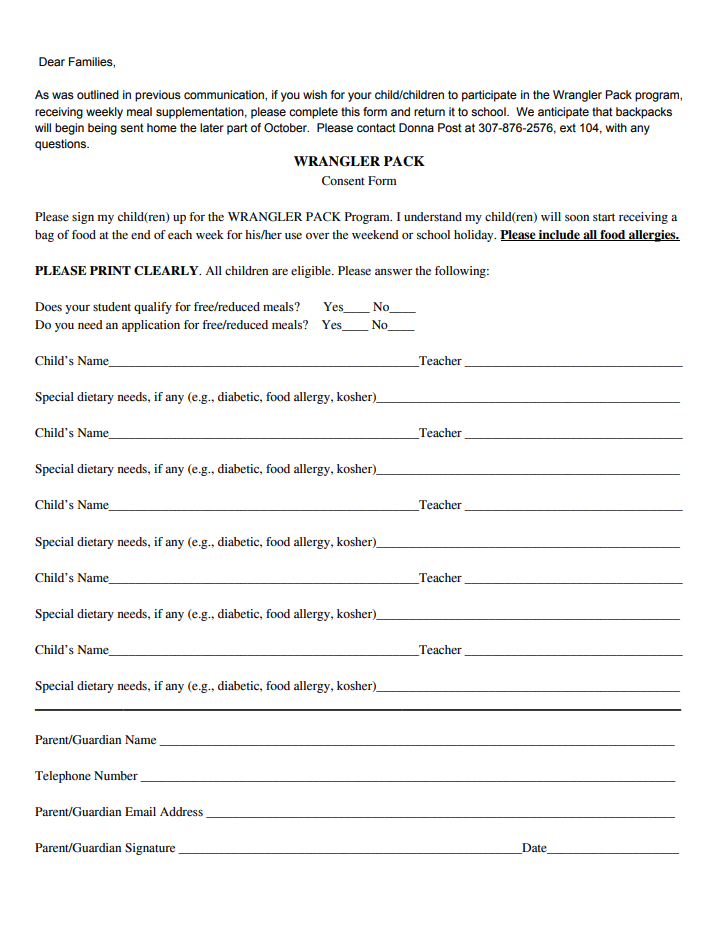 Wrangler Pack Program Sign Up Sheet