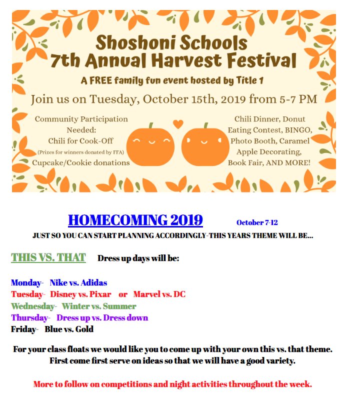 Harvest festival and Homecoming details