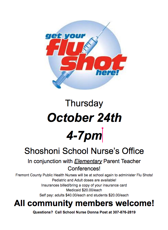 Flu Shots October 24th 4-7 PM at Shoshoni Schools