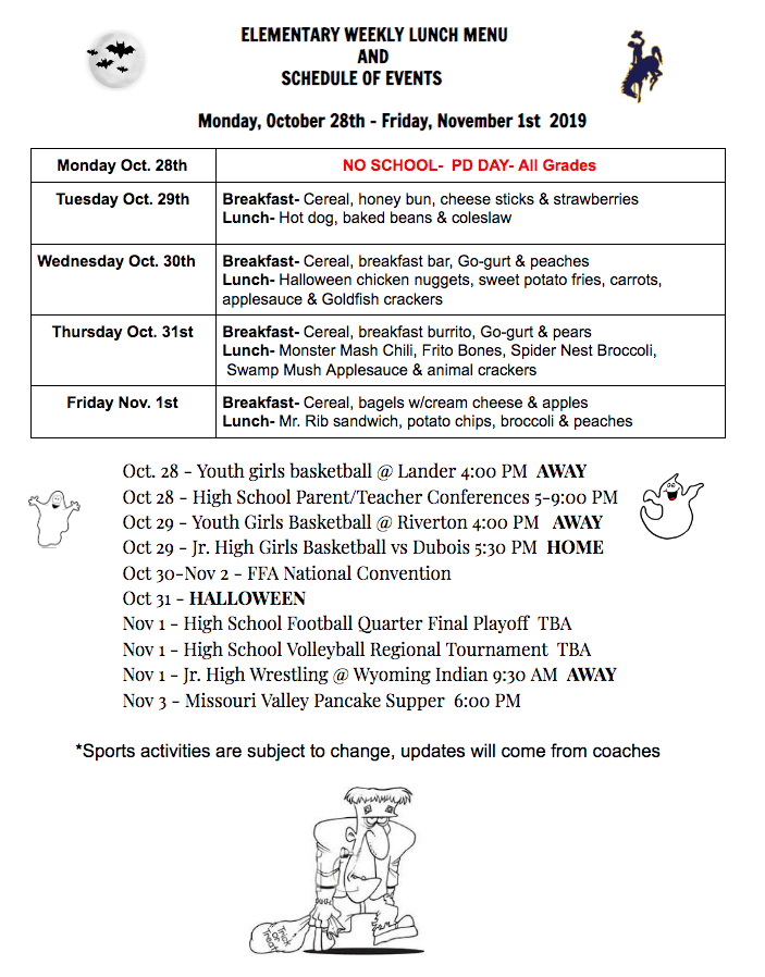 Elem Lunch Menu 10/28-11/1
