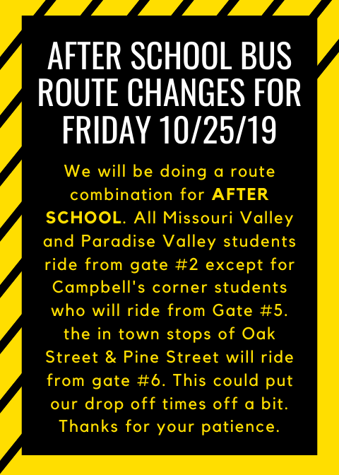 Bus route changes 10/25/19