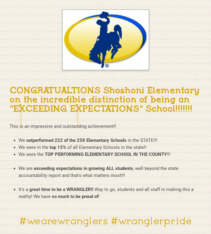 Shoshoni Elementary distinction of being an Exceeding Expectation School