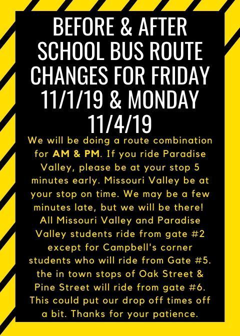 Bus Route changes for Friday 11/1/19 & Monday 11/4/19