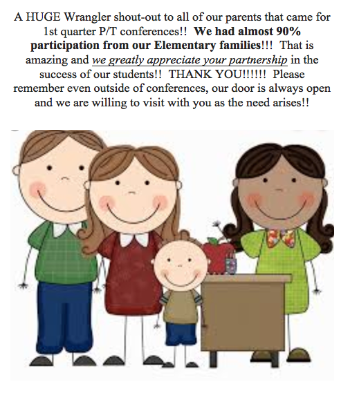 Parent Teacher Conference Update: 90% participation