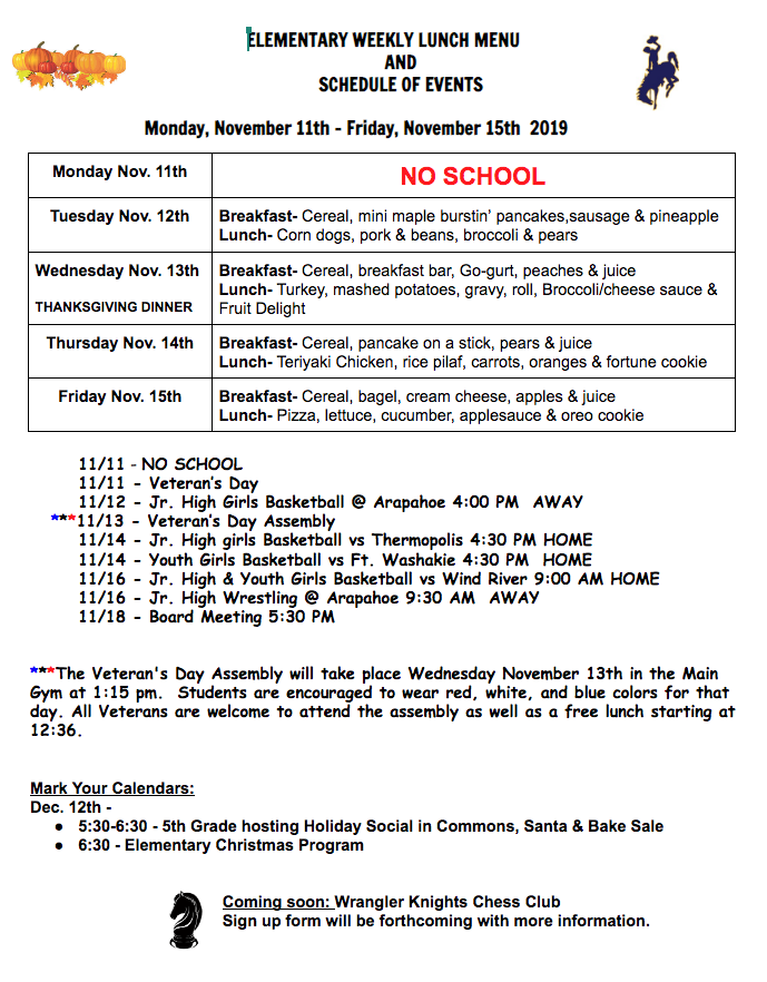 Elementary Lunch Menu 11/11/19-11/15/19