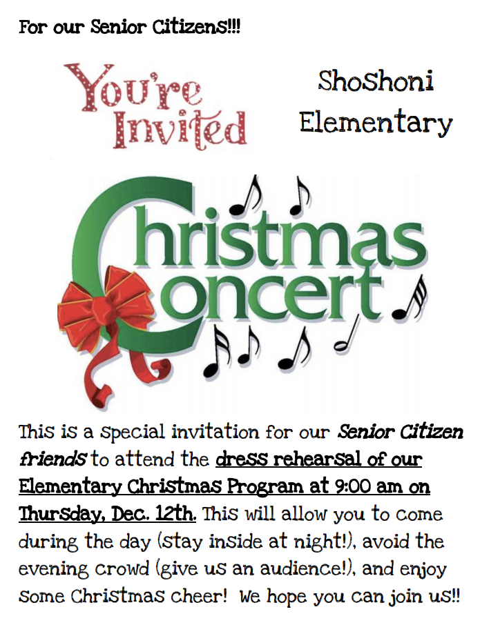 Senior Citizens come watch our Christmas concert dress rehearsal on 12/12 at 9am