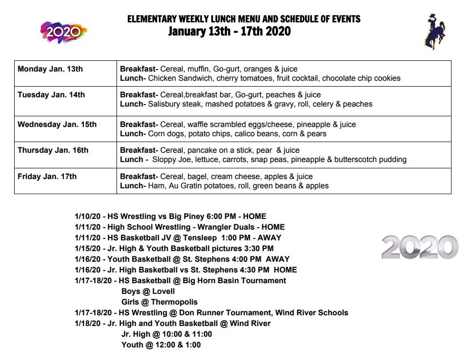 Lunch menu for 1/13-17/20