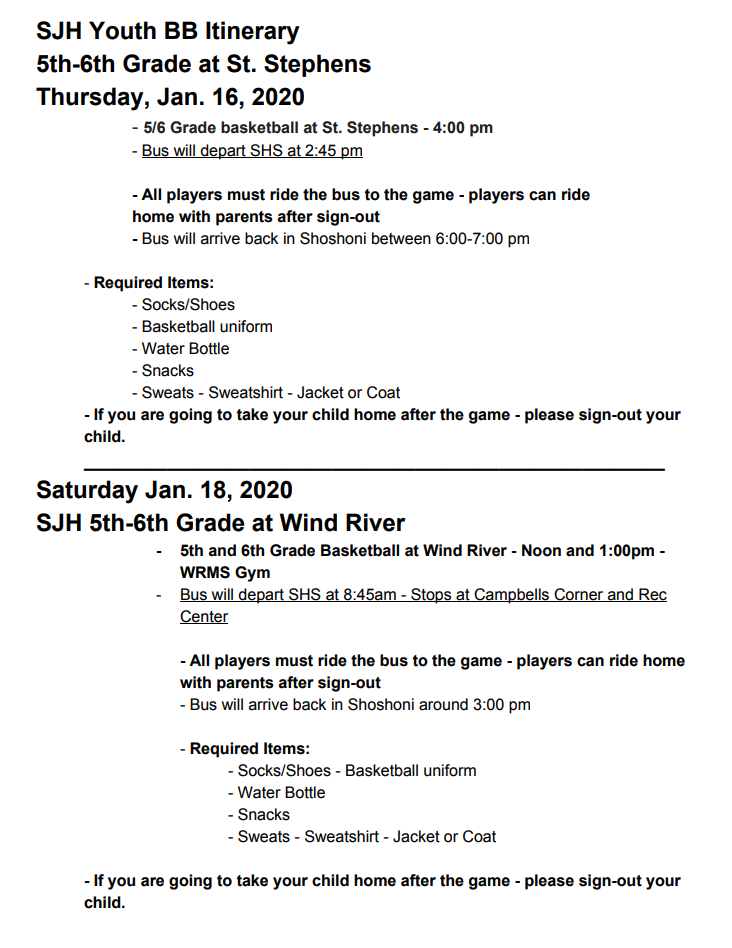 itinerary for youth basketball on thursday and saturday