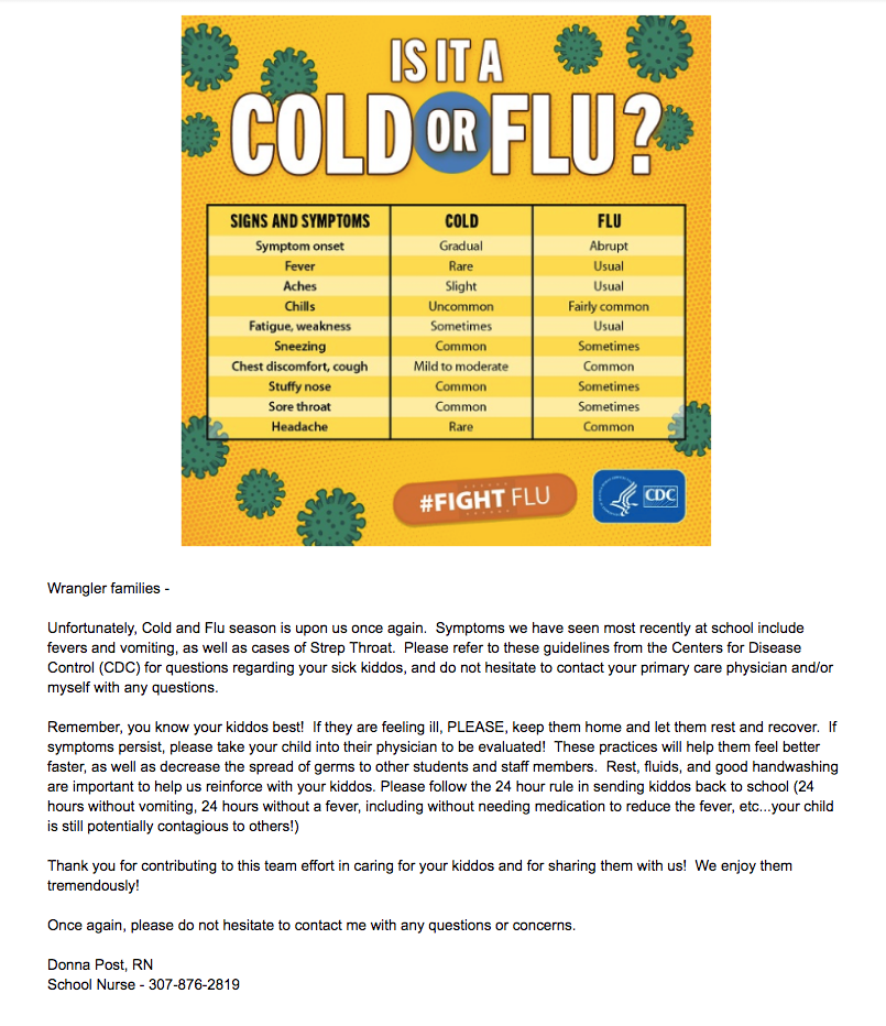 Flu or cold flyer from Nurse Donna