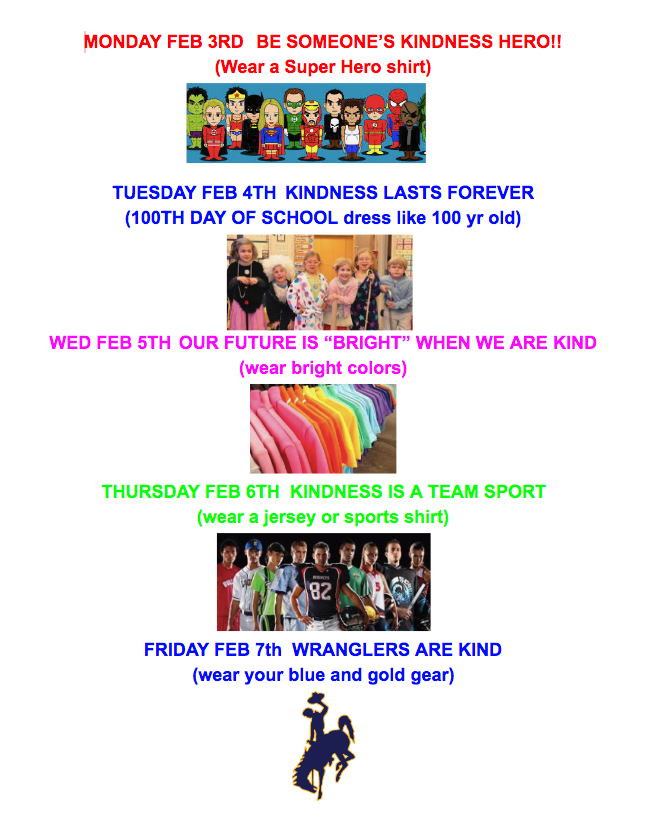 Kindness week dress up days
