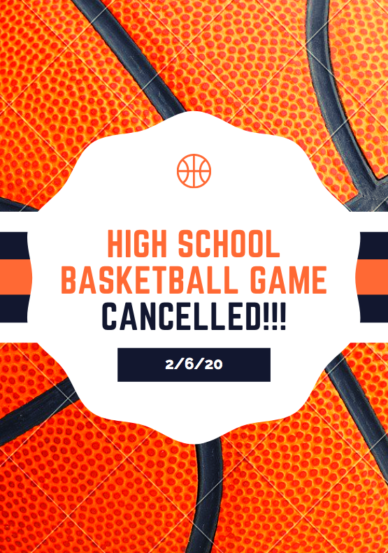 HSBB Game Cancelled 2/6/20