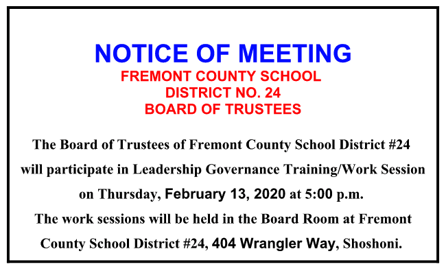 Notice of Meeting Board of Turstees Feb 13, 2020 5PM