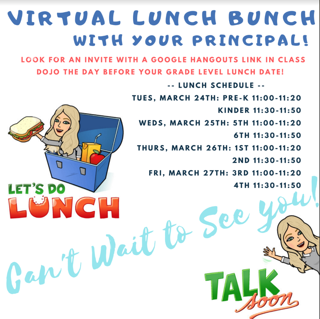 Elementary grade level virtual lunch this week. email adye@fremont24.com with questions.