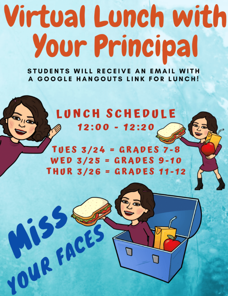 Secondary grade level virtual lunch this week. email adye@fremont24.com with questions.
