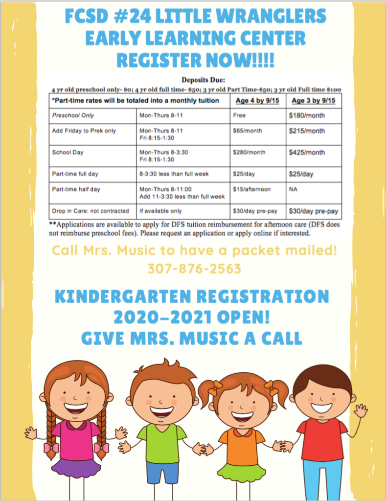 Preschool and Kinder registration open now! Call Mrs. Music 307-876-2563