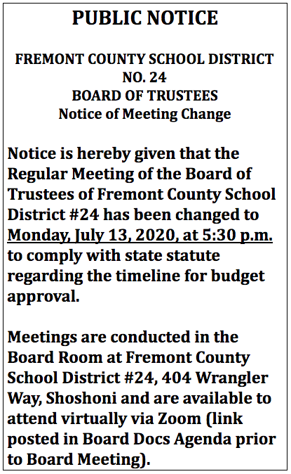July Board Mtg Change Notice