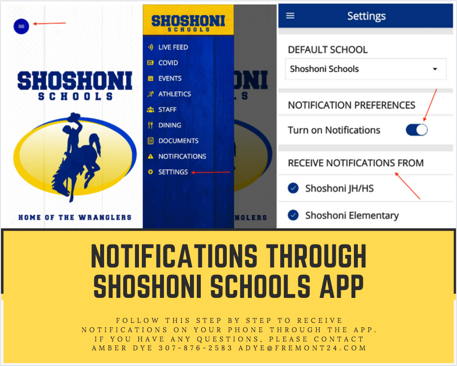 Notifications through Shoshoni Schools App