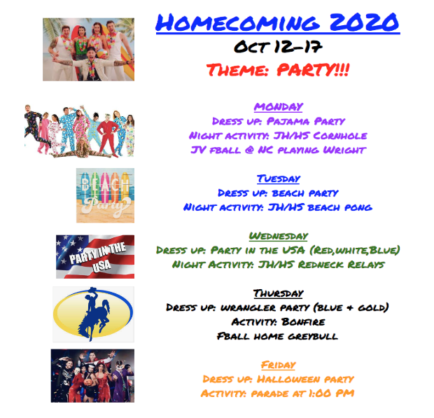 Homecoming 2020 October 12-17 dress up days