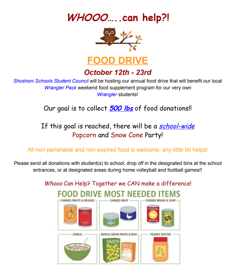Wrangler Pack food Drive info.