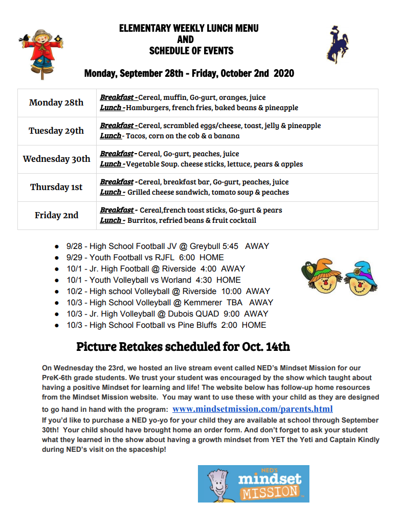 Elementary Breakfast and Lunch Menu, Events
